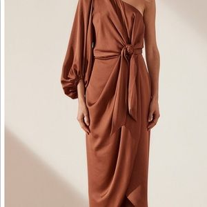 Shona joy - mocha - one shoulder midi dress